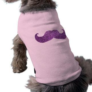 Purple Bling mustache Faux Glitter Graphic Pet Tee Shirt