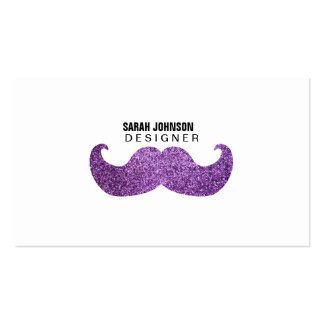 Purple Bling mustache (Faux Glitter Graphic) Double-Sided Standard Business Cards (Pack Of 100)