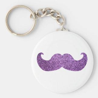 Purple Bling mustache (Faux Glitter Graphic) Keychain