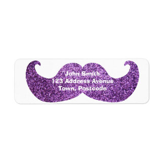 Purple Bling mustache (Faux Glitter Graphic) Label