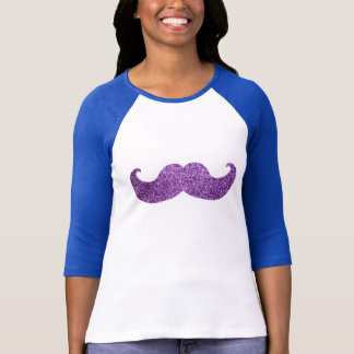 Purple Bling mustache (Faux Glitter Graphic) T-Shirt