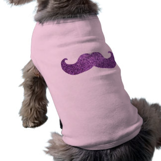 Purple Bling mustache (Faux Glitter Graphic) Tee