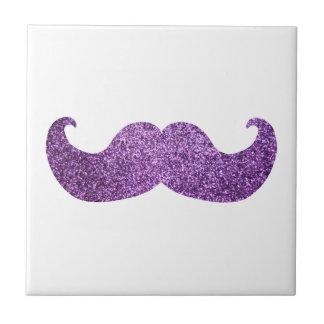 Purple Bling mustache (Faux Glitter Graphic) Tile