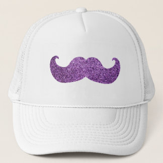Purple Bling mustache (Faux Glitter Graphic) Trucker Hat