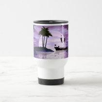 purple, sunset, boat, ship, boats, ships, palm, trees, ocean, scene, fantasy, fantasies, oceans, Caneca com design gráfico personalizado