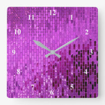 Purple Block Shimmer Pattern Square Wall Clock