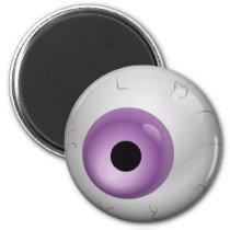 Purple Bloodshot Zombie Eyeball Halloween Magnet