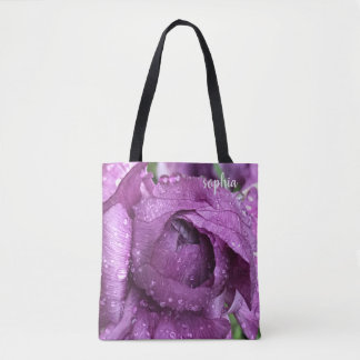 Purple Bloom, wet with raindrops, add name Tote Bag