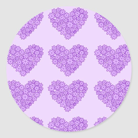 Purple blooming flowers hearts classic round sticker