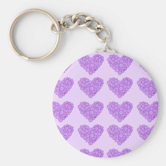Purple blooming flowers hearts keychain