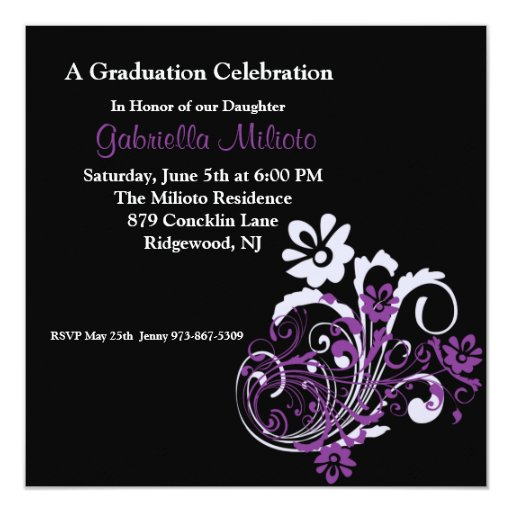 """Purple Blooming Flowers on Graduation Invitation 5.25"""" Square Invitation Card"""