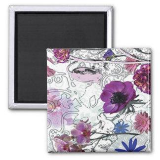 Purple Blooms Floral Magnet