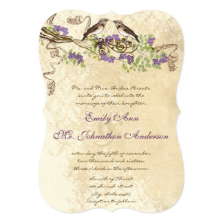 Purple Blooms Green Leaves Vintage Bird Weddings Card