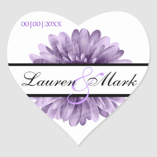 Purple Blossom Daisy Save Date Wedding Heart Sticker