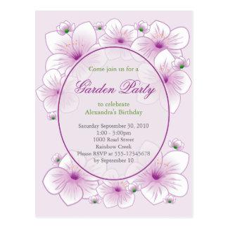 Purple Blossom Flowers Romantic Birthday Party Postcard