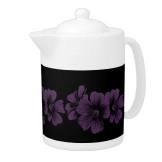 Purple blossom pattern ~editable background teapot