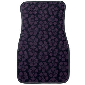 Purple Blossoms on Black Pattern Car Mat