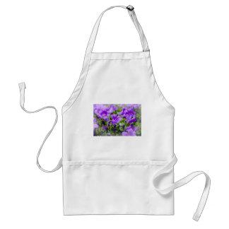 purple blossoms vines plants flora bellflower adult apron