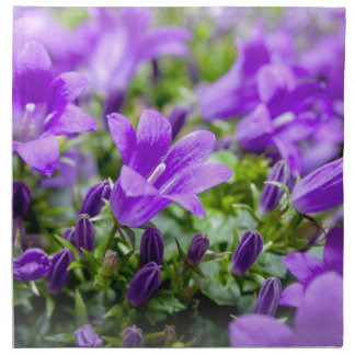 purple blossoms vines plants flora bellflower cloth napkin