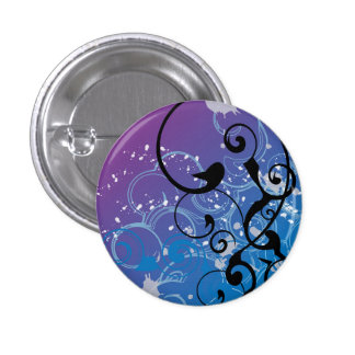 Purple & Blue Abstract Swirl 1 Inch Round Button