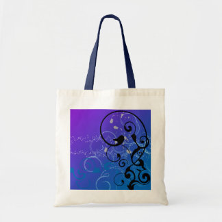 Purple & Blue Abstract Swirl Budget Tote Bag