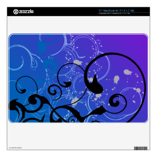 Purple & Blue Abstract Swirl Decals For MacBook
