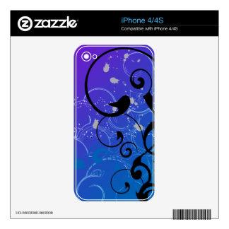 Purple & Blue Abstract Swirl iPhone 4 Skins