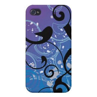 Purple & Blue Abstract Swirl iphone Case Cover For iPhone 4
