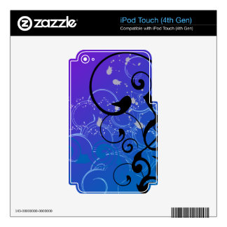 Purple & Blue Abstract Swirl iPod Touch 4G Decals