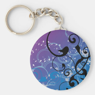 Purple & Blue Abstract Swirl - Keychain