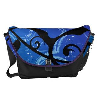 Purple & Blue Abstract Swirl Messenger Bags