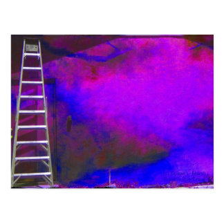 Purple Blue and Black background with ladder photo Postcard