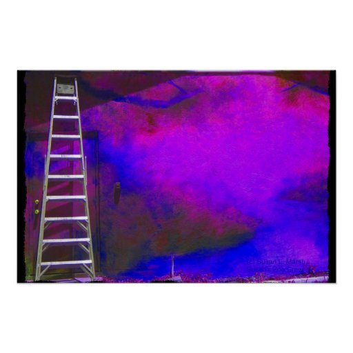 Purple Blue and Black background with ladder photo Posters