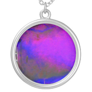 Purple Blue and Black background with ladder photo Round Pendant Necklace