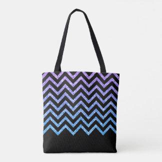 Purple Blue And Black Glitter Modern Chevron Tote Bag
