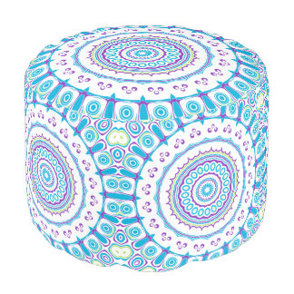Purple, Blue and Green Kaleidoscope Flowers Design Round Pouf