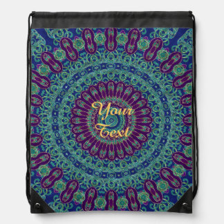 Purple, Blue and Green Mandala Drawstring Bag