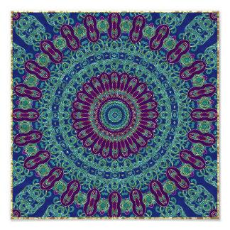 Purple, Blue and Green Mandala Photo Print