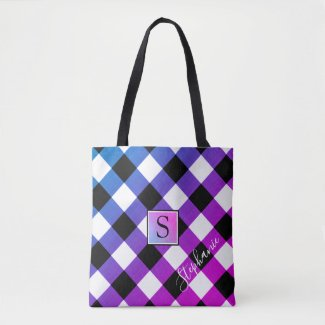 Purple Blue and Pink Buffalo Check Plaid Monogram Tote Bag