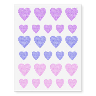 Purple, Blue and Pink Heart Tattoos