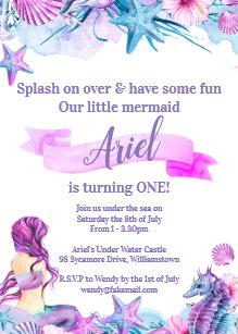 Ariel Birthday Invitations Zazzle