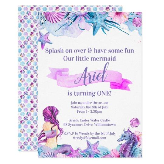 Purple Blue And Pink Mermaid Birthday Invitation