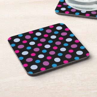 Purple Blue and Pink Polka Dots Pattern Beverage Coaster