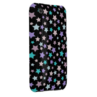 Purple Blue and Pink stars pattern on black iPhone 3 Cover