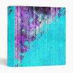 Purple, Blue,and Teal Wood Planks & Paint Splatter 3 Ring Binder