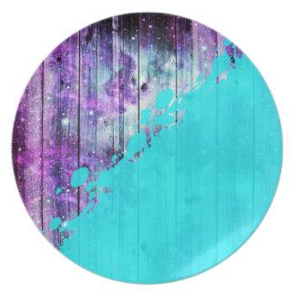 Purple, Blue,and Teal Wood Planks & Paint Splatter Melamine Plate