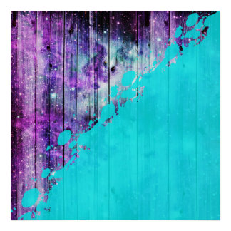 Purple, Blue,and Teal Wood Planks & Paint Splatter Poster