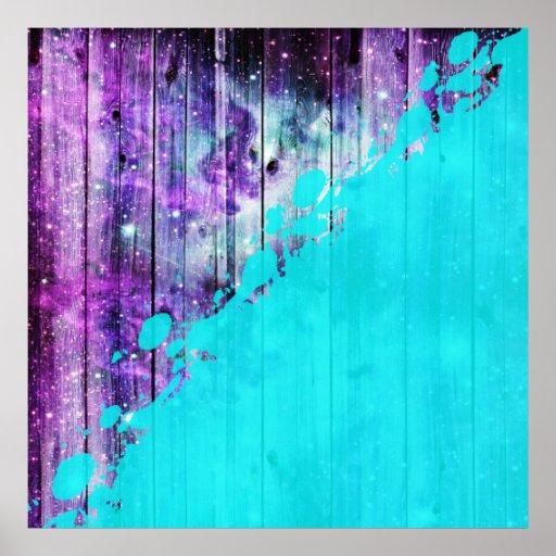 Purple, Blue,and Teal Wood Planks & Paint Splatter Poster