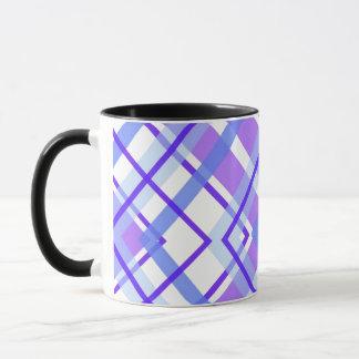 Purple, Blue and White Geometric Plaid Mug