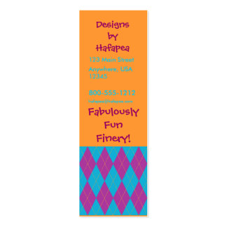 Purple & Blue Argyle Double-Sided Mini Business Cards (Pack Of 20)